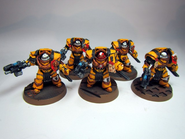 Imperial Fist Cataphracti Terminator squad armed with combi-plasmas and chain fists